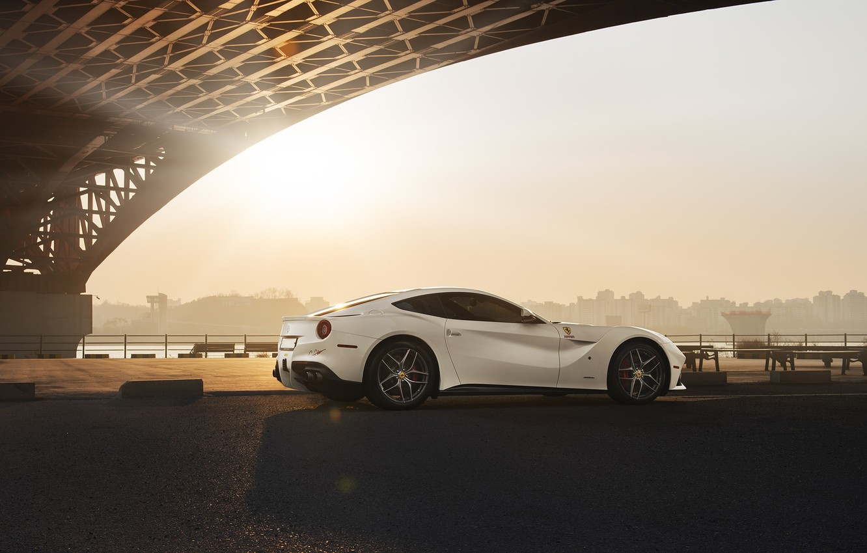 Photo wallpaper City, Ferrari, Bridge, Sun, White, Supercar, Berlinetta, F12, Rear