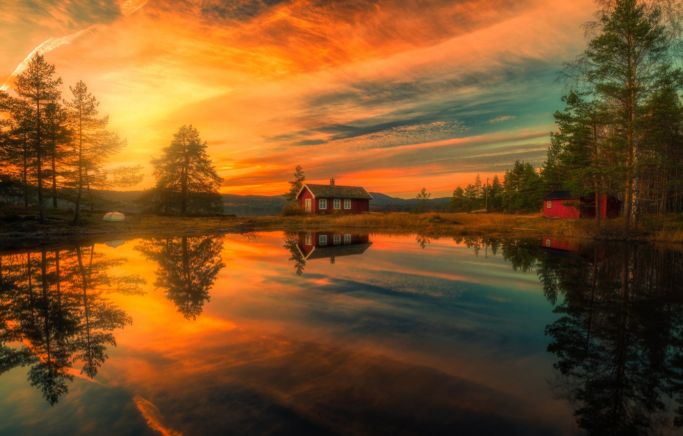 Wallpaper trees, sunset, lake, reflection, home, Norway ...