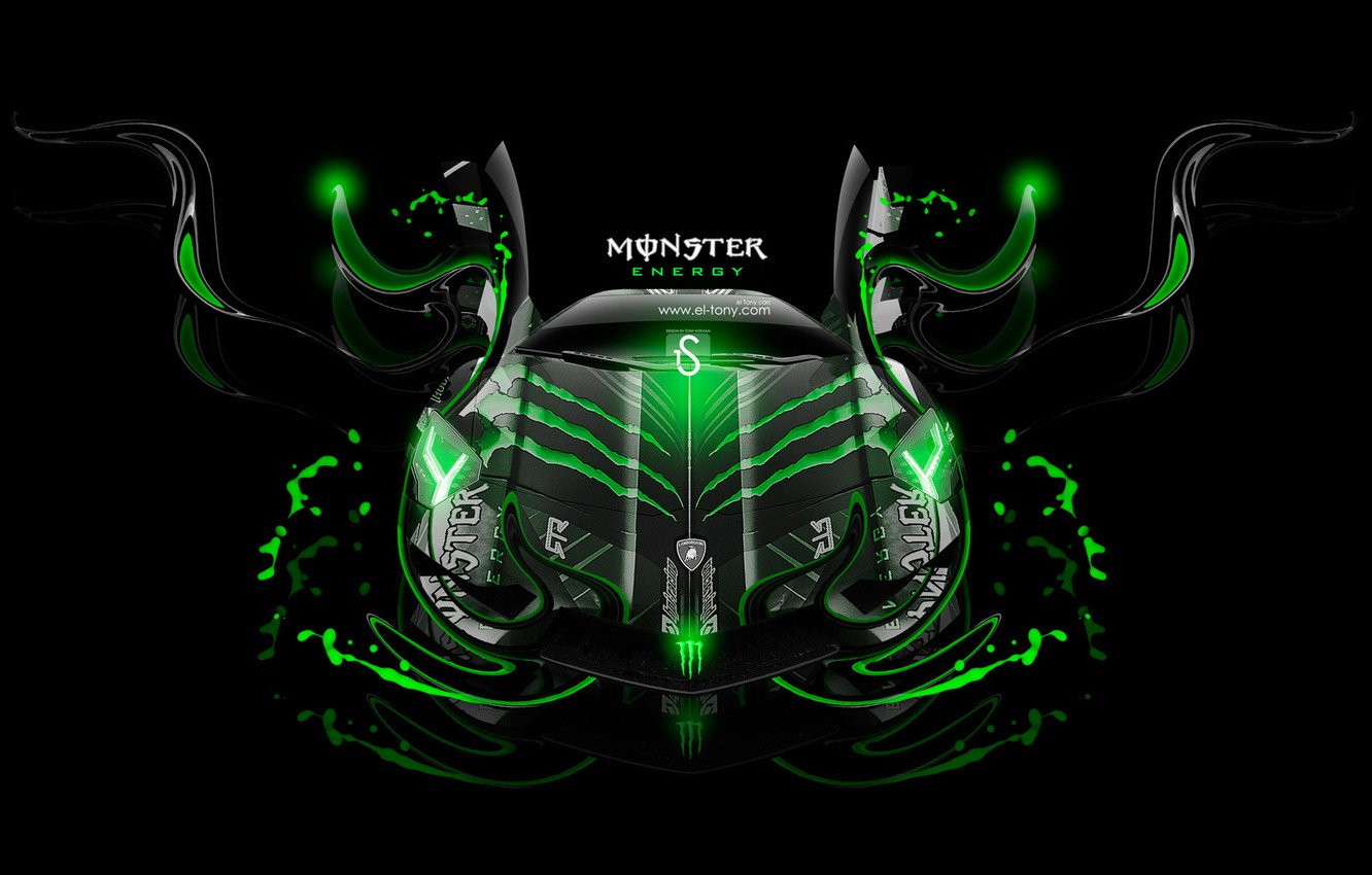 Wallpaper Black Lamborghini Neon Green Background Fantasy Photoshop Green Design Black Neon Monster Energy Lamborghini Aventador Effects El Tony Cars Images For Desktop Section Abstrakcii Download