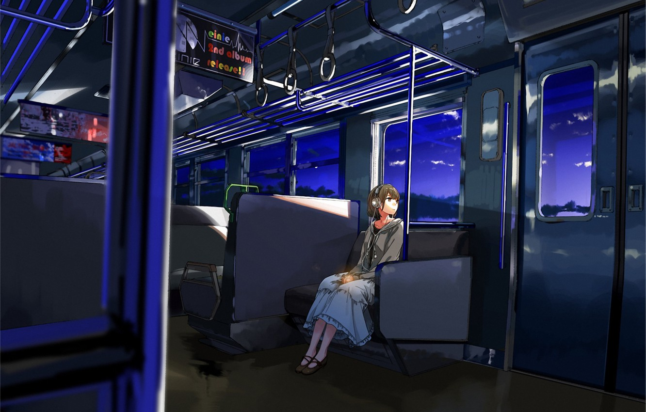 Photo wallpaper girl, train, the evening, headphones, art, one, kurono-fuel