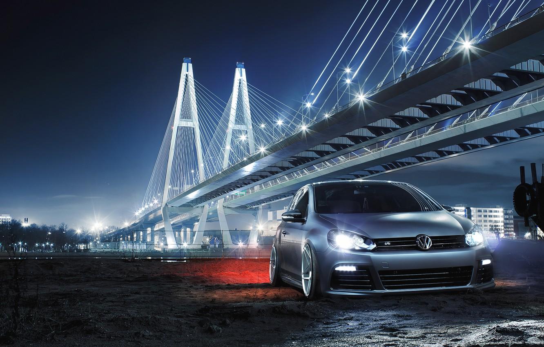 Photo wallpaper Volkswagen, Car, Front, Bridge, Night, Golf R, Low