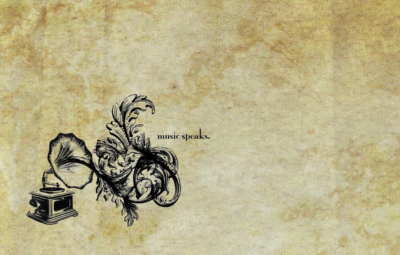 Photo wallpaper curls, music speaks, gramophone