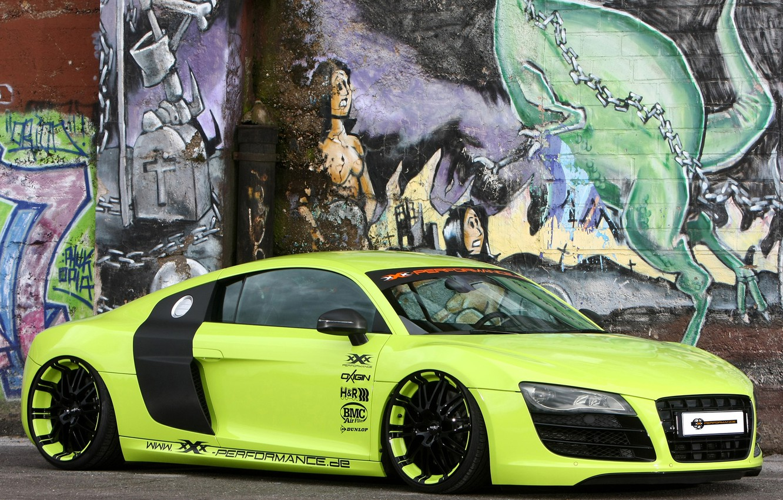Photo wallpaper background, wall, Audi, tuning, Audi, green, supercar, grafiti, drives, tuning, the front, V10, B10, XXX …
