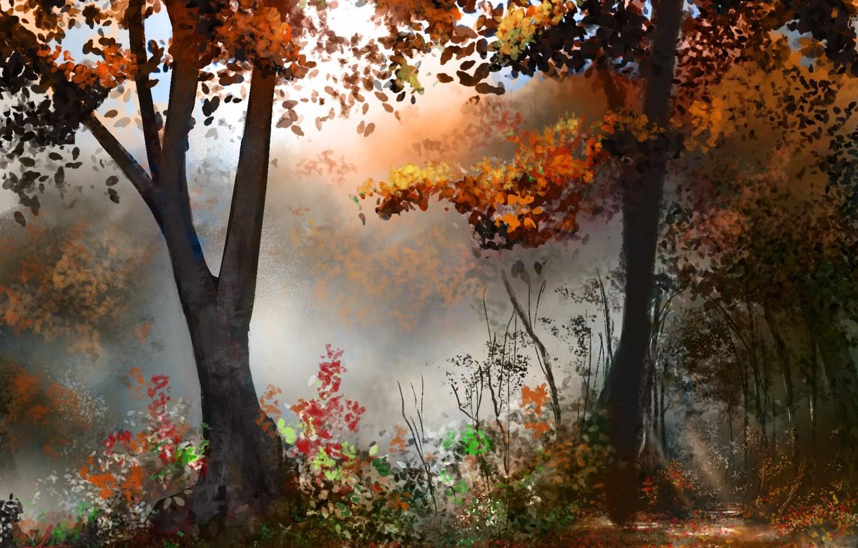 Photo wallpaper autumn, forest, trees, art, painted landscape