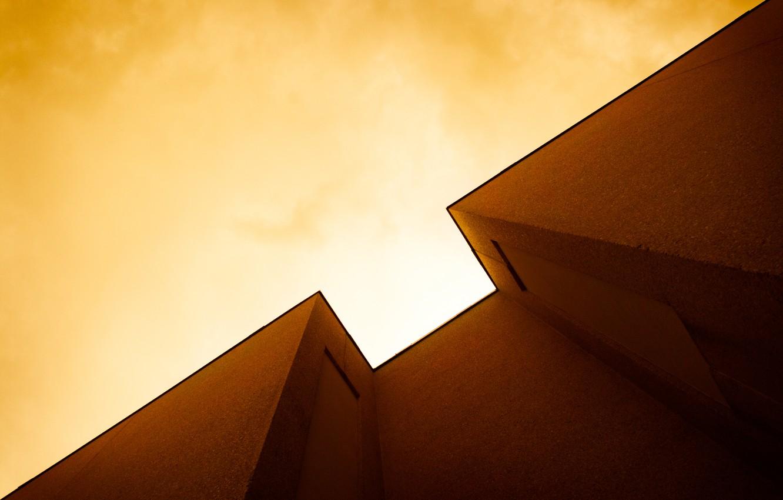 Photo wallpaper the sky, light, house, wall, angle