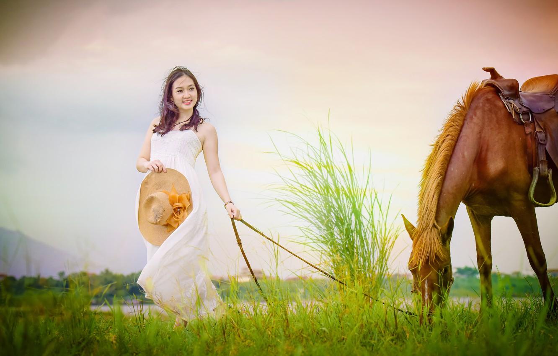 Photo wallpaper face, smile, horse, horse, dress, walk, Asian