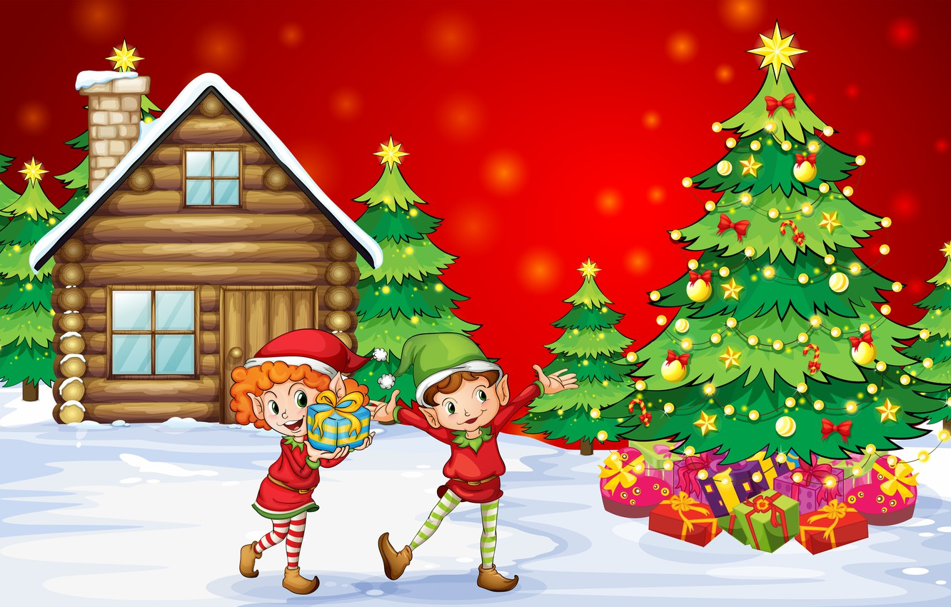 Wallpaper snow happiness children vector new year home