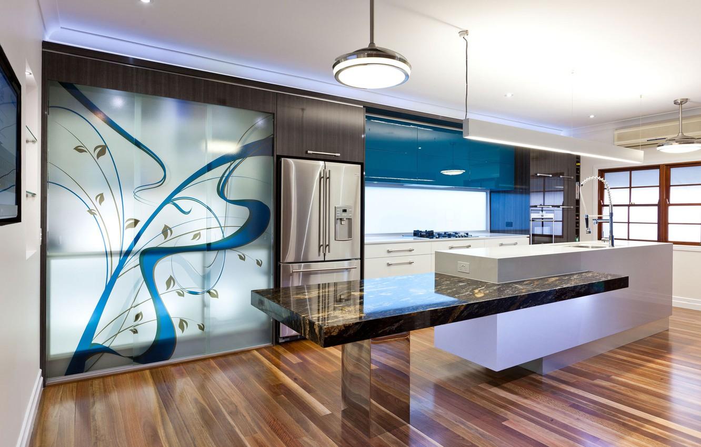 Photo wallpaper light, metal, interior, refrigerator, kitchen, laminate