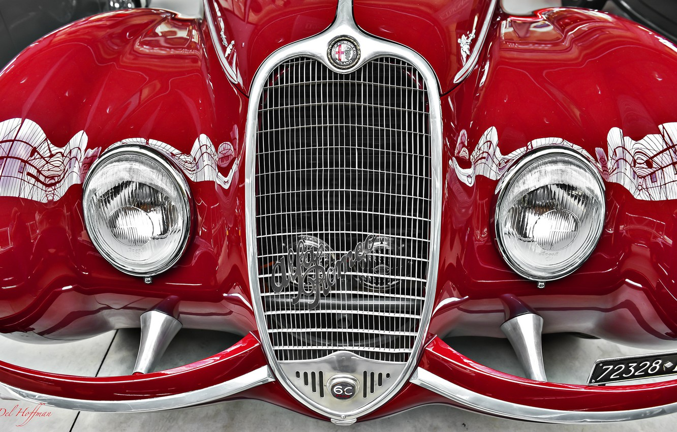 Photo wallpaper red, lights, Alfa Romeo, grille