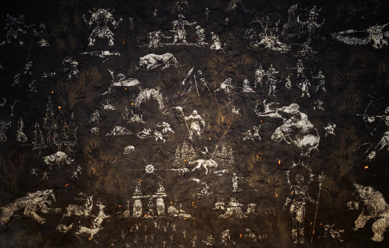 Photo wallpaper surface, creative, wall, texture, painting, animals, bokeh, wallpaper., elements, good idea, beautiful background, rock, primitive, …