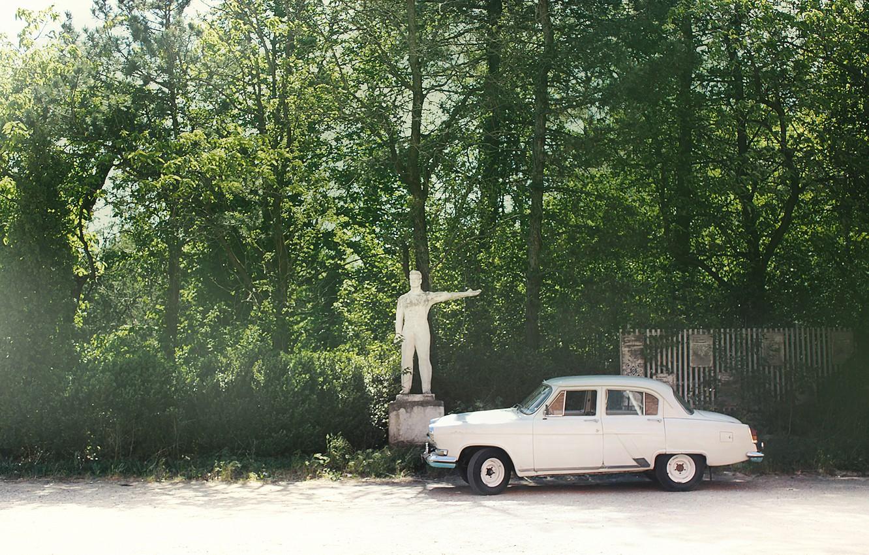 Photo wallpaper retro, gas, Volga, 21m
