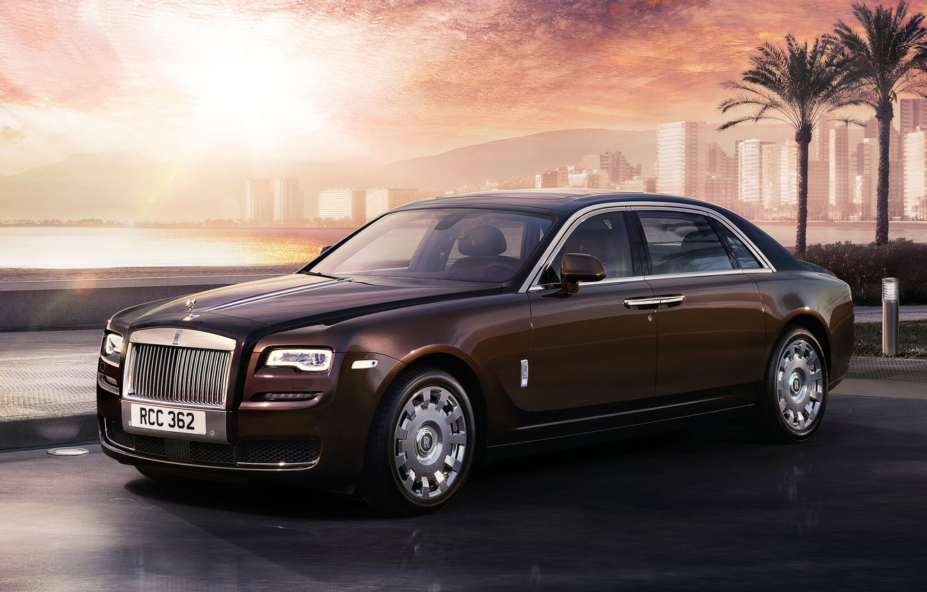 Photo wallpaper palm trees, Rolls Royce, Ghost
