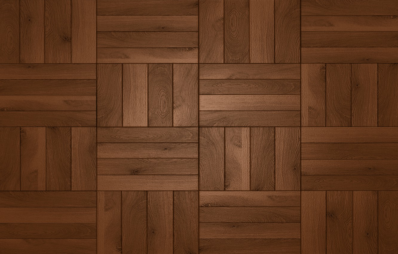 Photo wallpaper wood, square, floor, dark brown shades