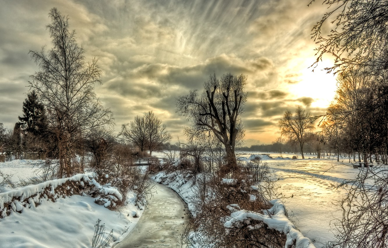 Photo wallpaper winter, the sky, clouds, snow, trees, landscape, sunset, nature, river