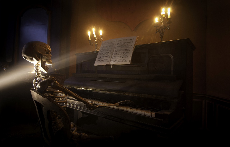 Photo wallpaper music, skeleton, piano