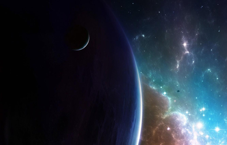 Photo wallpaper satellite, Galaxy, Stars, Planet