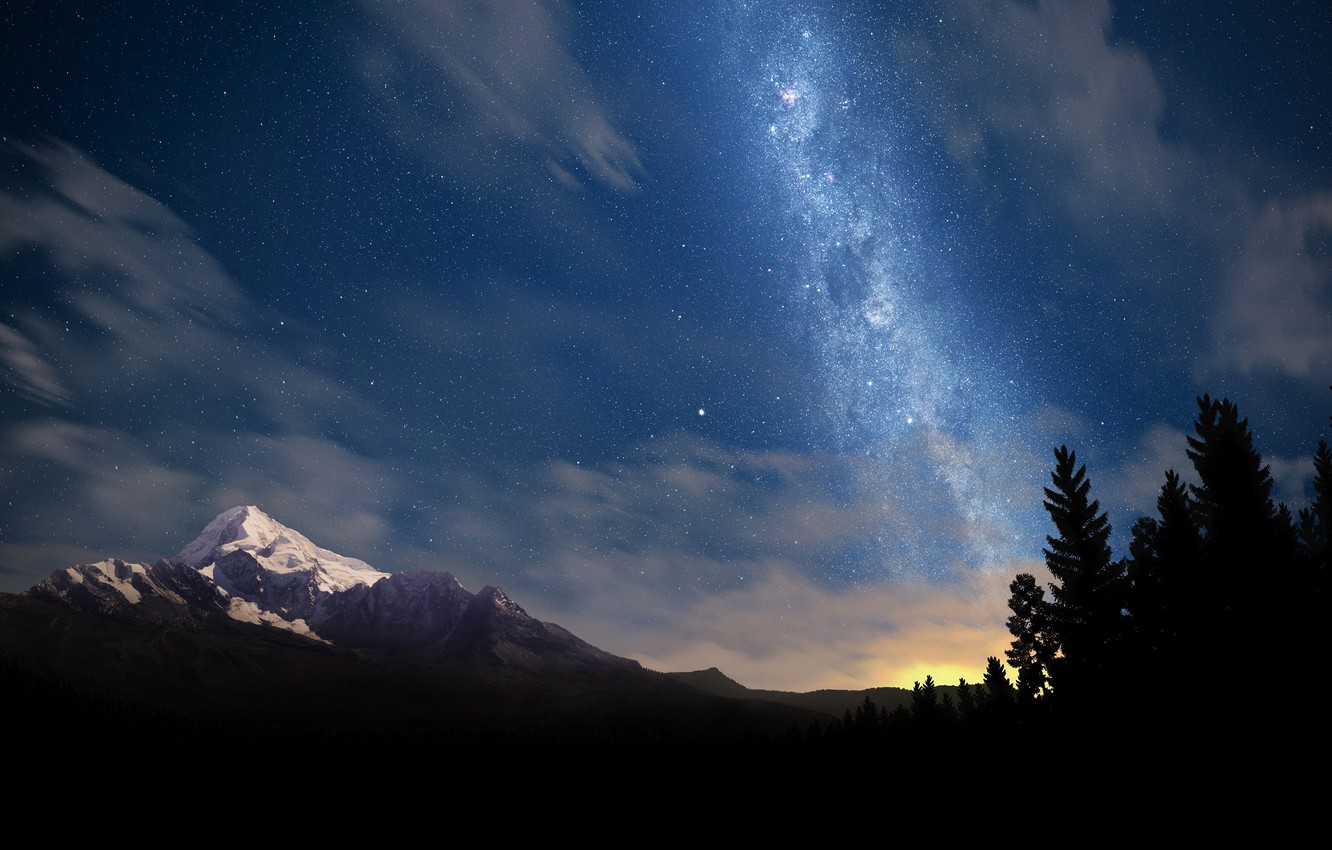 Photo wallpaper trees, mountains, night, nature, photo, tree, landscapes, star, mountain, stars, forest, beautiful places