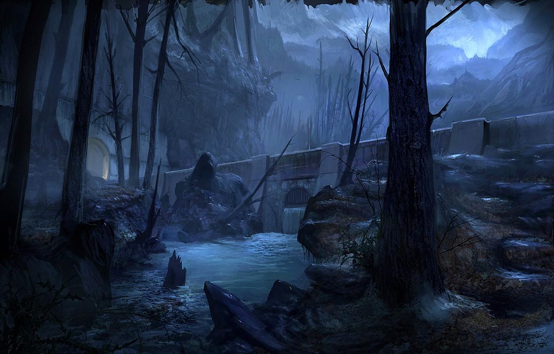 Photo wallpaper trees, mountains, night, bridge, river, stones, rocks, art