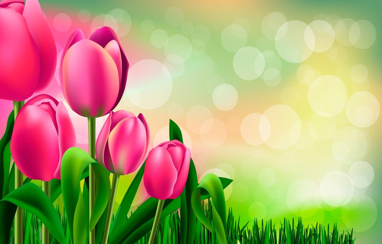 Photo wallpaper figure, tulips, buds