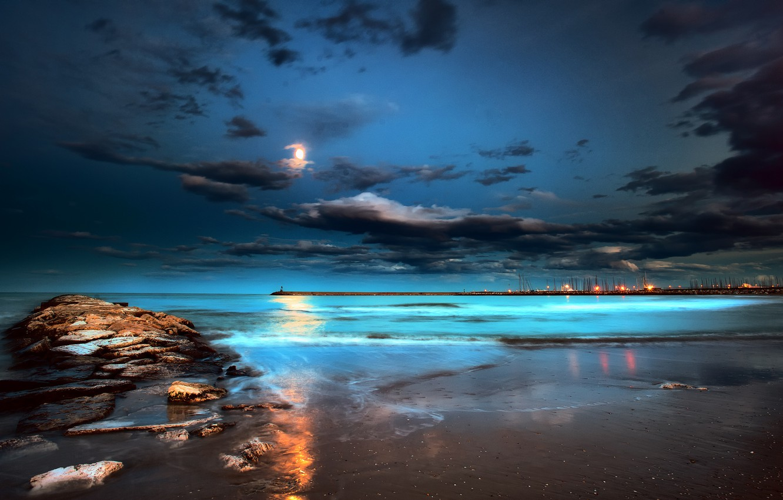 Wallpaper Sea Beach Night Lights