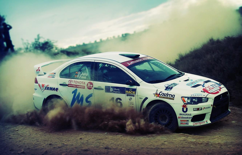 Photo wallpaper car, dust, turn, drift, drift, gravel, mitsubishi, rally, rally, lancer, evolution, offroad
