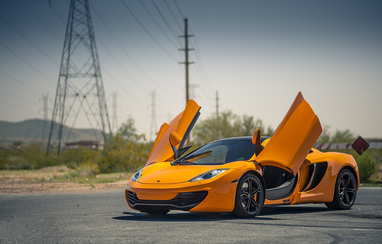 Photo wallpaper orange, McLaren, orange, high-voltage support, Mp4-12C, McLaren
