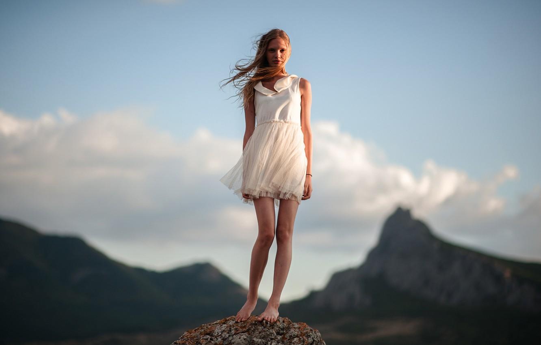 Photo wallpaper Girl, The wind, Hair, Dress, White, Legs, Beautiful, Koktebel