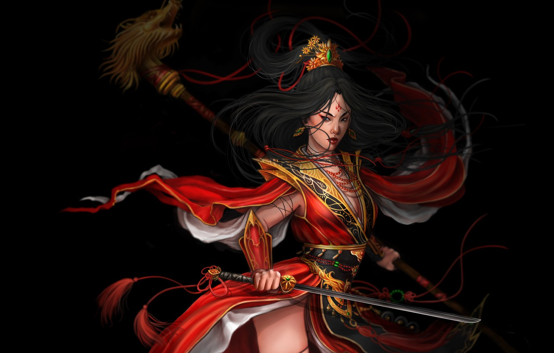 Photo wallpaper look, girl, pose, weapons, fiction, art, samurai, black background
