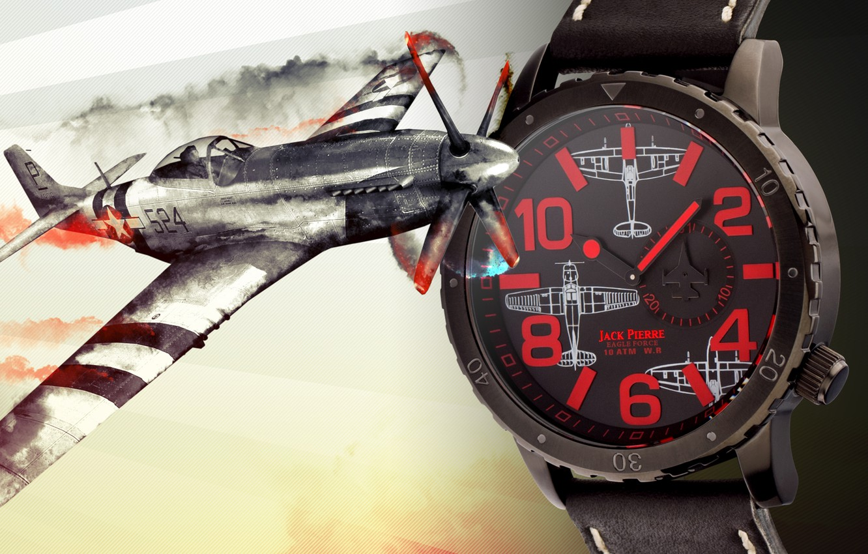 Photo wallpaper red, plane, watch, Jack Pierre
