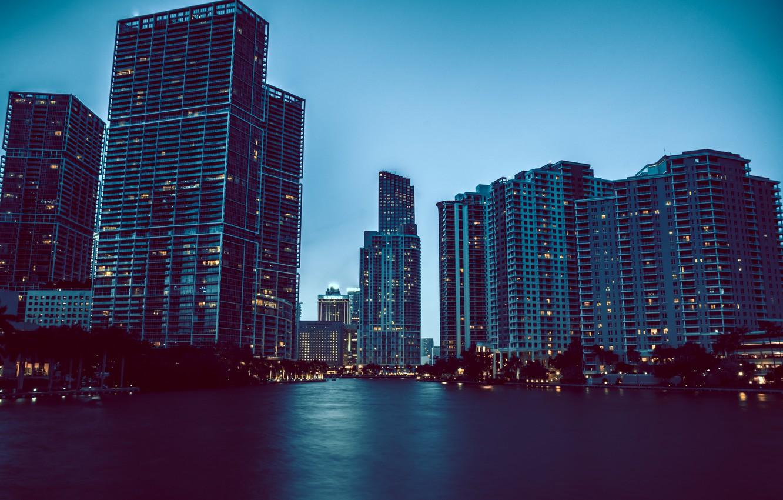 Photo wallpaper water, lights, home, Miami, skyscrapers, the evening, FL, Miami, florida