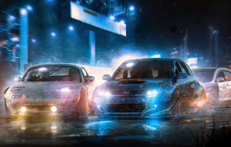 Photo wallpaper Subaru, Impreza, WRX, Mazda, Race, Cars, Art, STI, Speed, Nigth, Run, by Khyzyl Saleem, MX5