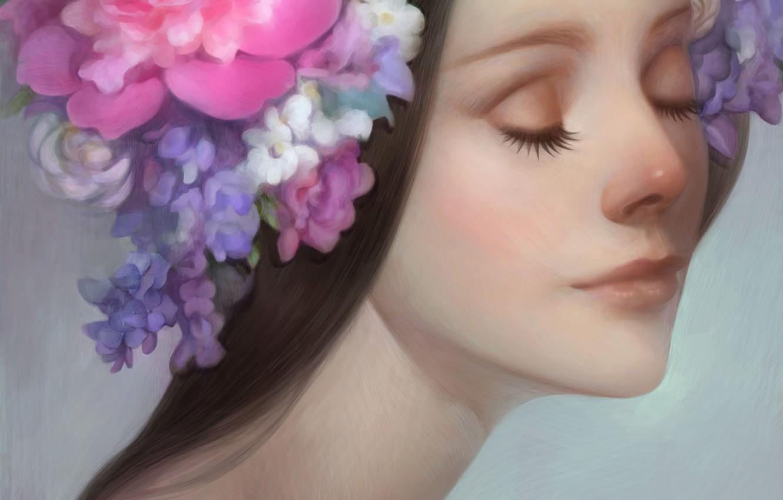 Photo wallpaper girl, flowers, face, art, wreath