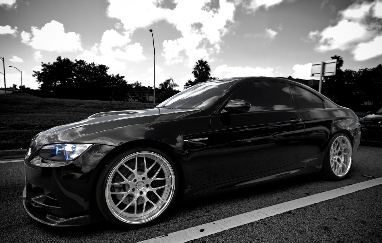 Photo wallpaper black, BMW, BMW, highway, black, E92
