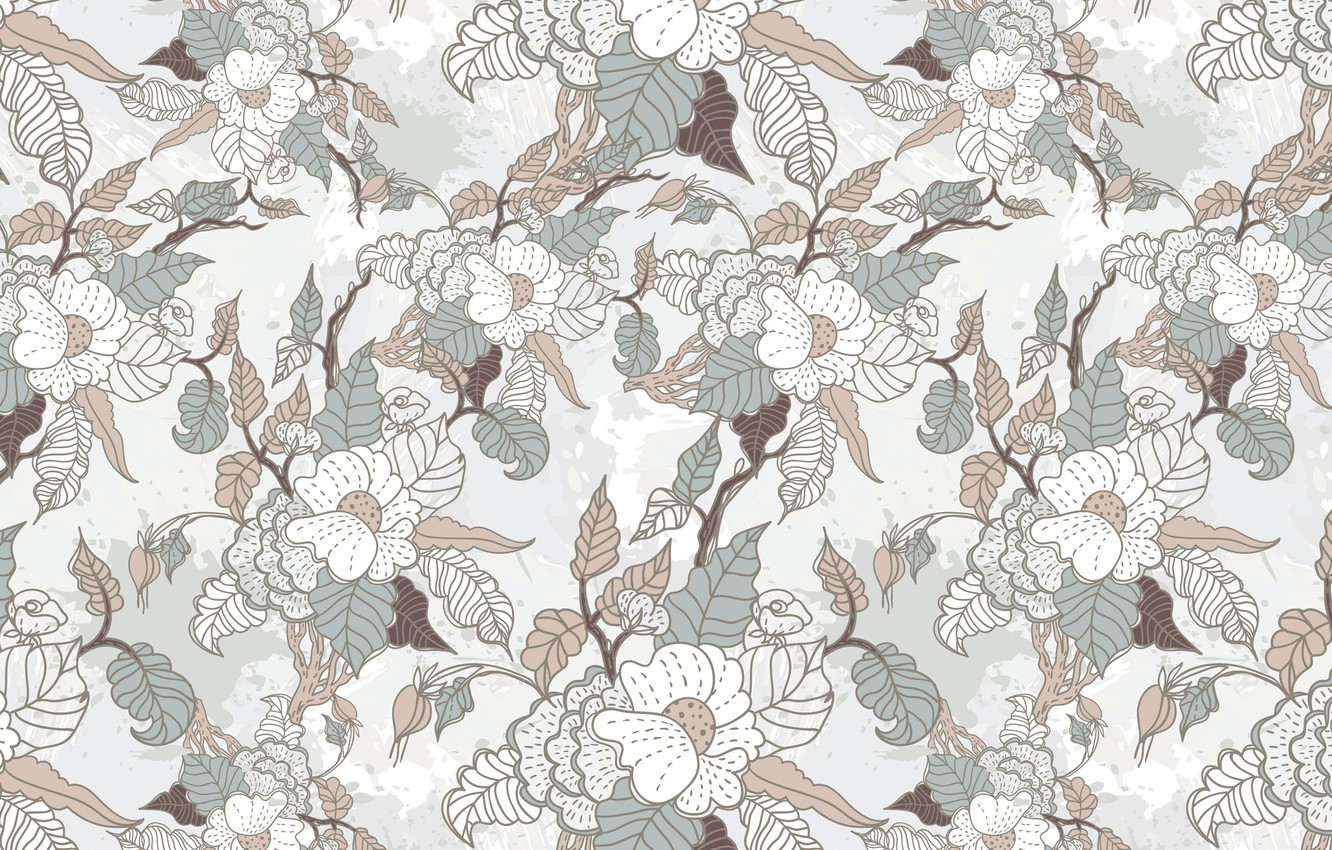 Photo wallpaper leaves, flowers, background, Wallpaper, fabric, texture, floral ornament