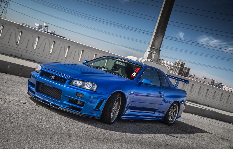 Photo wallpaper Nissan, Blue, Skyline, R34
