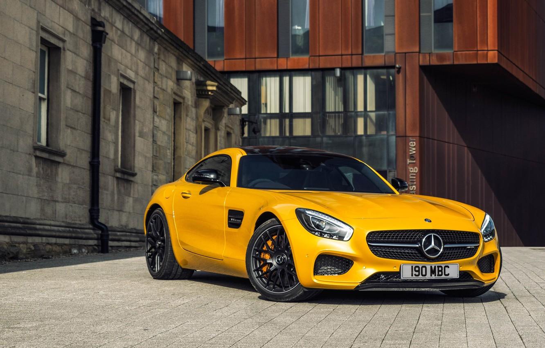 Photo wallpaper yellow, Mercedes, Mercedes, AMG, AMG, UK-spec, 2015, GT S, C190