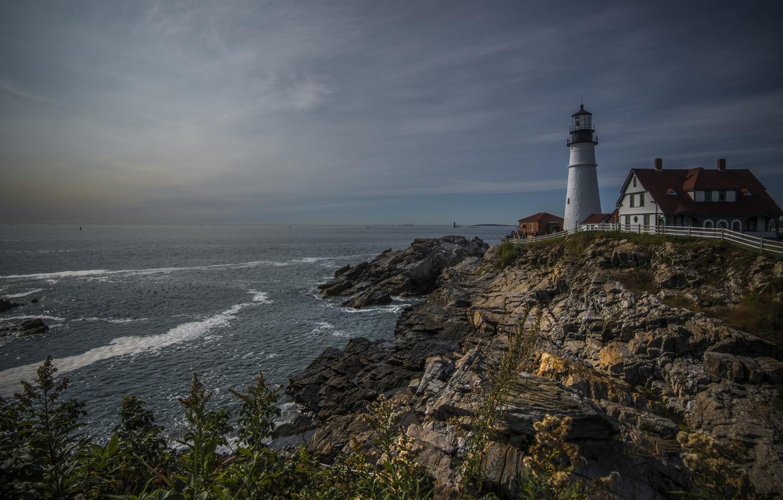 Photo wallpaper nature, the ocean, rocks, lighthouse