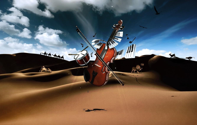 Photo wallpaper desert, violin, keys, drum, Musical instruments