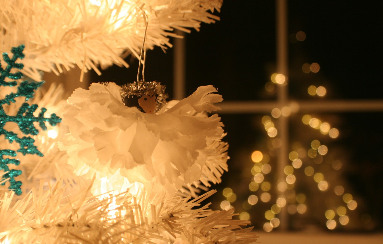 Photo wallpaper decoration, holiday, backlight, happy new year, bokeh, silver tree, Lita