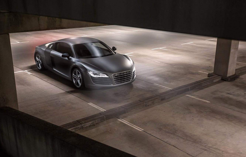 Photo wallpaper Audi, Black, Quattro, Matte, View, Parking, V10, Supercar, More, Top
