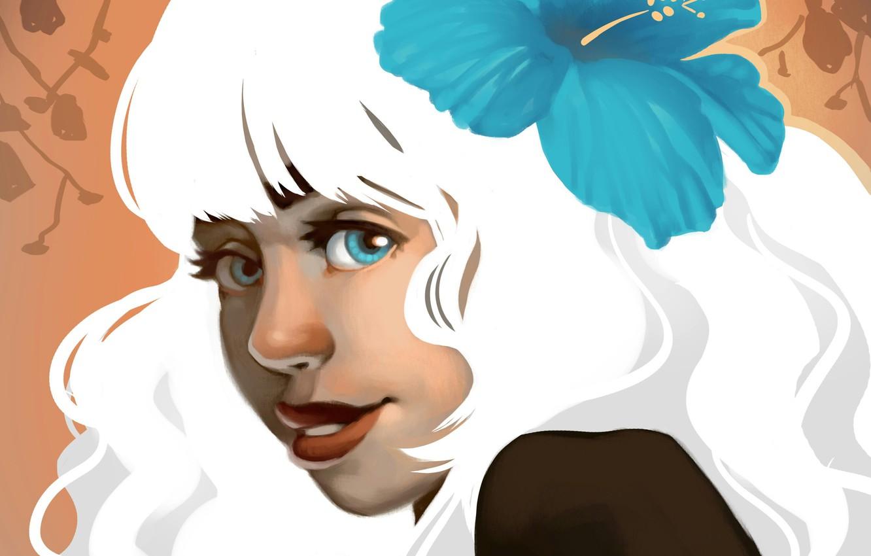 Photo wallpaper flower, look, girl, face, smile, hair, white