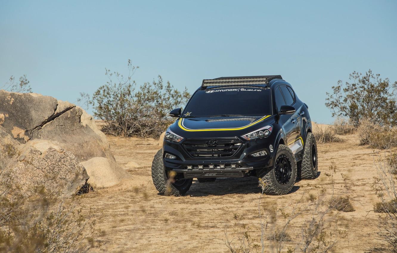 Photo wallpaper Hyundai, Rockstar, Performance, Garage, Tucson, stones desert