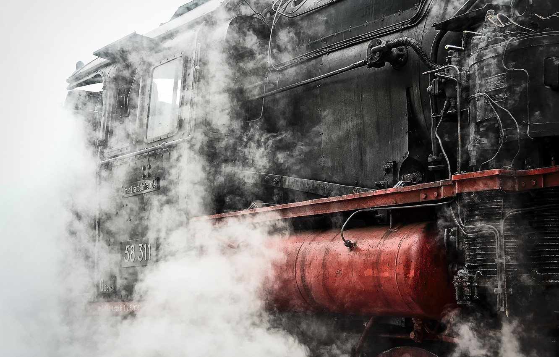 Photo wallpaper smoke, the engine, Train