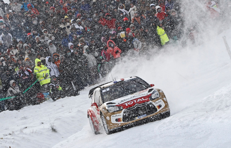 Photo wallpaper Winter, Auto, Snow, Sport, Machine, People, Race, Citroen, DS3, WRC, Rally, Rally, Snowfall