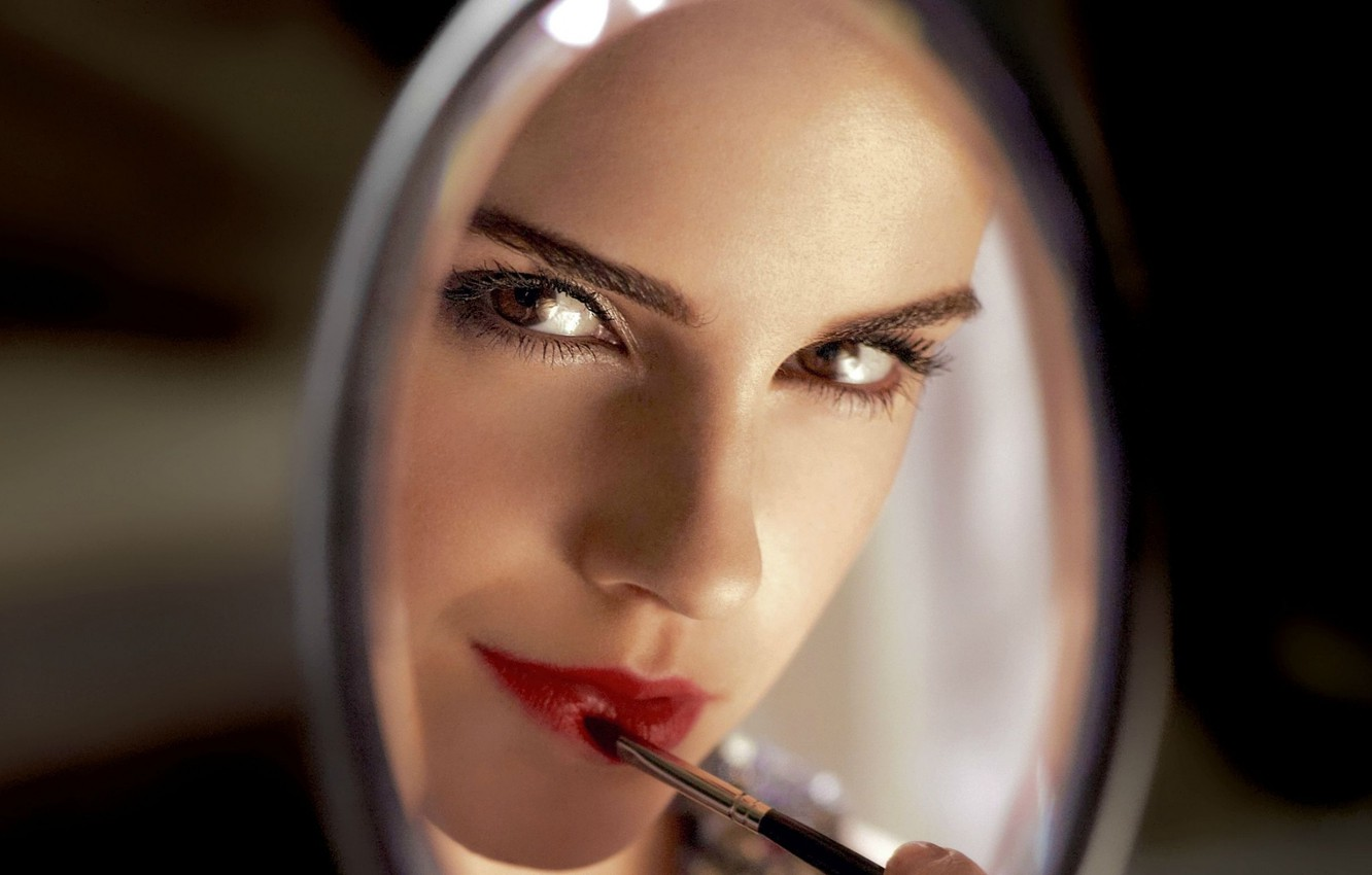 Photo wallpaper look, makeup, actress, mirror, lipstick, lips, Emma Watson, Emma Watson, brush