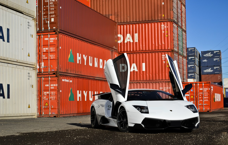 Photo wallpaper white, supercar, lamborghini, Lamborghini, murcielago