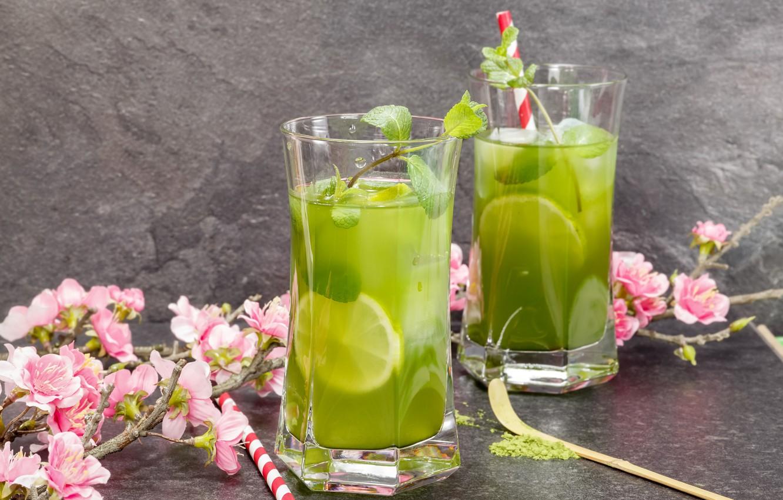 Photo wallpaper lime, glasses, drink, mint