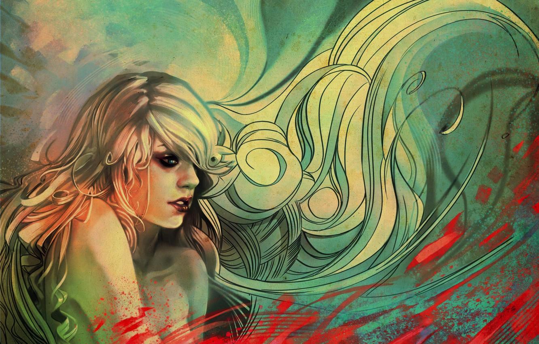 Photo wallpaper girl, pattern, hair, art, samka,, tepu by