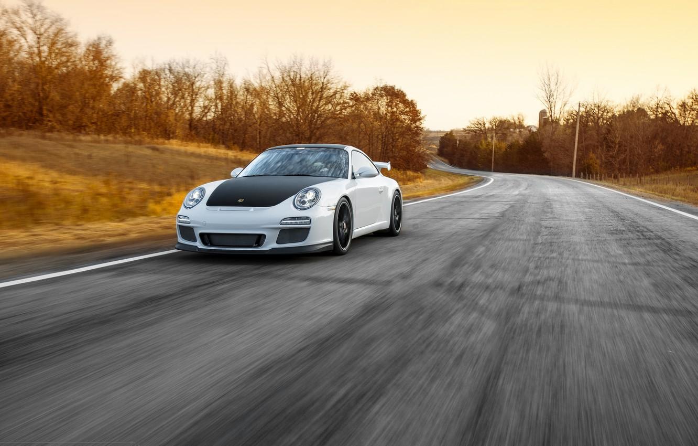 Photo wallpaper road, white, 911, Porsche, before, white, sports car, Porsche, GT3, in motion