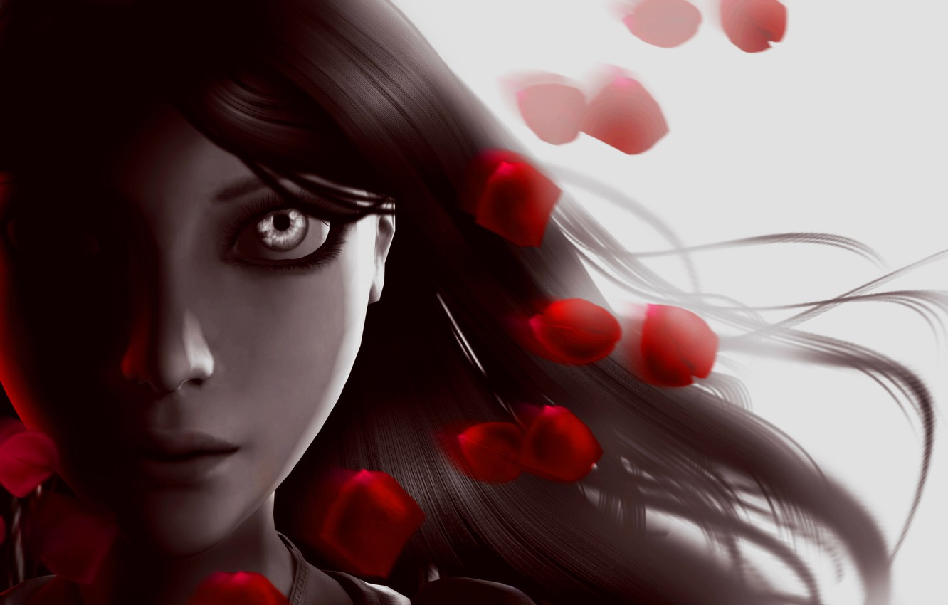 Photo wallpaper girl, face, eyes, hair, petals, Alice, Alice: Madness Returns, Madness Returns